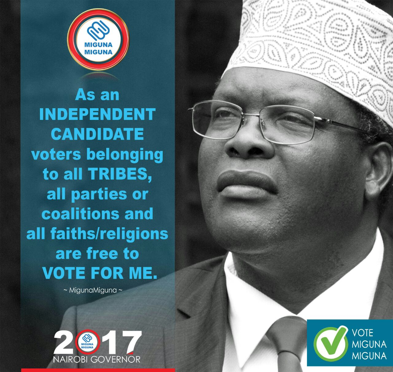 As an independent candidate, you are free to vote for me.