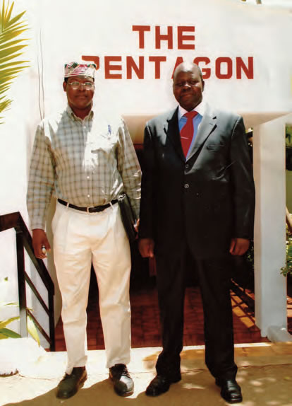 "The Candidate at The Pentagon House, Nairobi, with Sylvester Kasuku (wearing a suit), ""Ja Suba achiel mariek,"" February 2008."