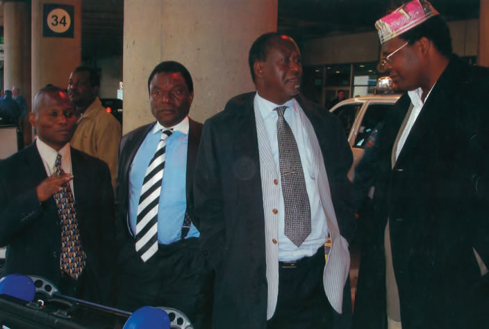 The Candidate welcoming Hon. Raila Odinga on arrival at The Toronto's Pearson International Airport, October 2006.