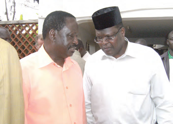The Candidate with Hon. Raila Odinga on June 10, 2012: Comforting the family of Hon. Orwa Ojodeh following his tragic death in an air crash.