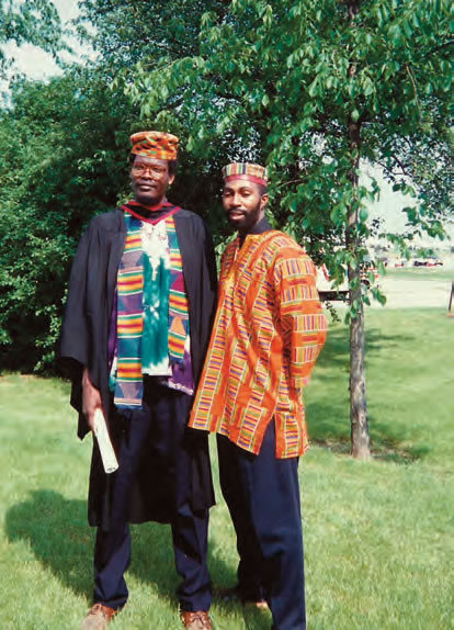 The Candidate graduating with a Juris Doctor (JD) degree from the Osgoode Hall Law School of York University, June 1993. The Candidate is with his best friend, comrade and PALS' co-founder, Livingstone Wedderburn.