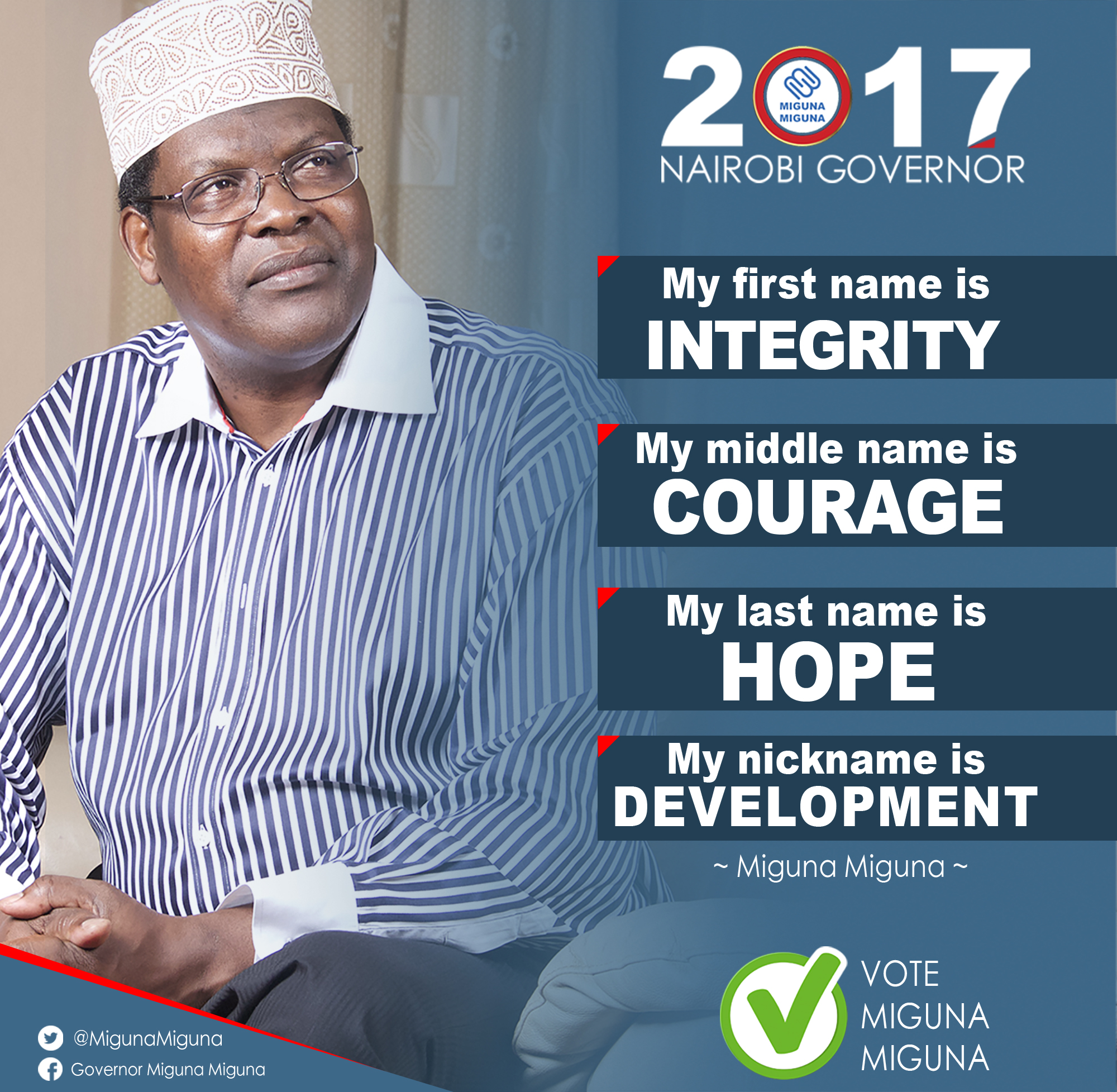 The Candidate's first name is integrity.