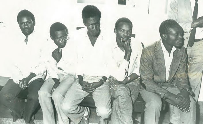 The Candidate at the Nairobi Law Courts with fellow student leaders on the day they were released from incommunicado detention. From left to right: Munameza Mulegi (Foreign Secretary), Kaberere Njenga (Secretary General), Miguna Miguna (Finance Secretary), Munoru Nderi (Vice Chairman), and Oyuo Amuomo Ngala (Academic Secretary).