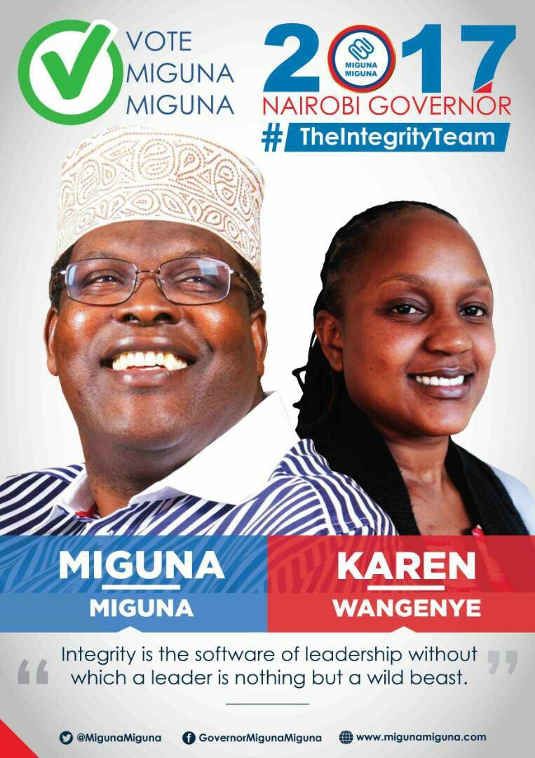 Miguna and running mate Karen Wangenye